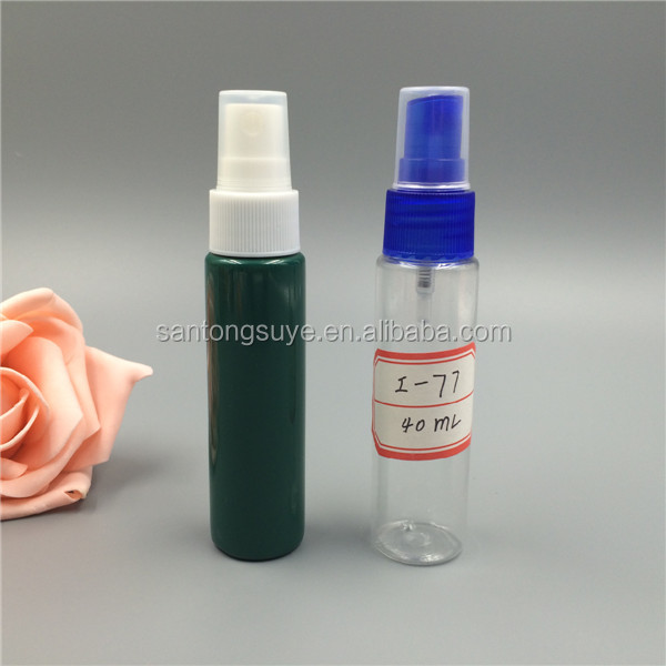 Factory make clear or custom color 40ml PET plastic spray bottle for perfumes and liquid