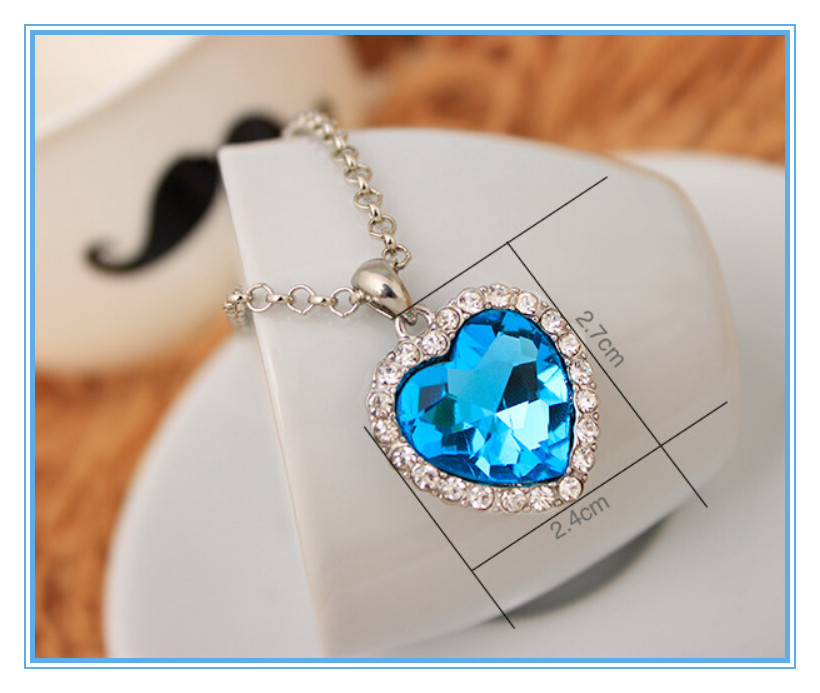 249da220e2817 Mecylife Zircon Heart Necklace Blue Crystal Heart Ocean Necklace - Buy  Heart Of The Ocean Necklace,Heart Of The Ocean Pendant,Heart Crystal  Pendant ...