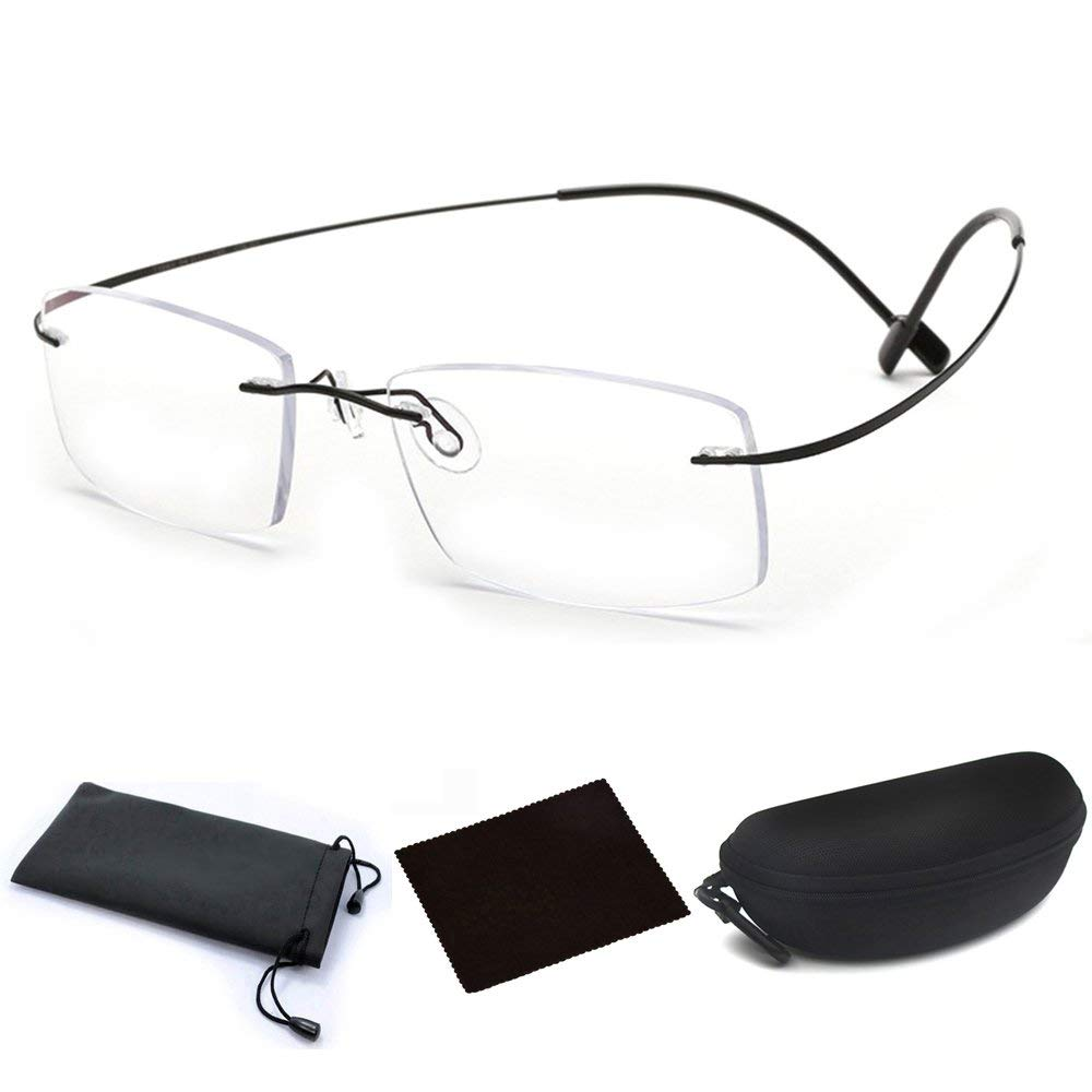 df4ced9de87 Get Quotations · Ultra Lightweight Titanium Alloy Flex Arm Bendable  Flexible Rimless Rectangle Reading Glasses Men Women Eye Glasses