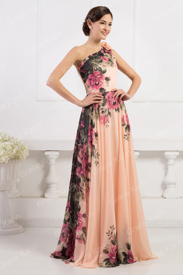 2015 Grace Karin Elegant Floral Printed One Shoulder