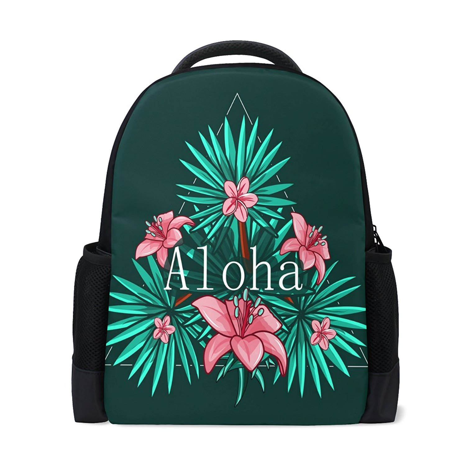 af281794550 Get Quotations · Ethel Ernest Hawaiian Aloha With Green Leaves Custom Casual  Laptop Backpack School Bag Travel Backpack