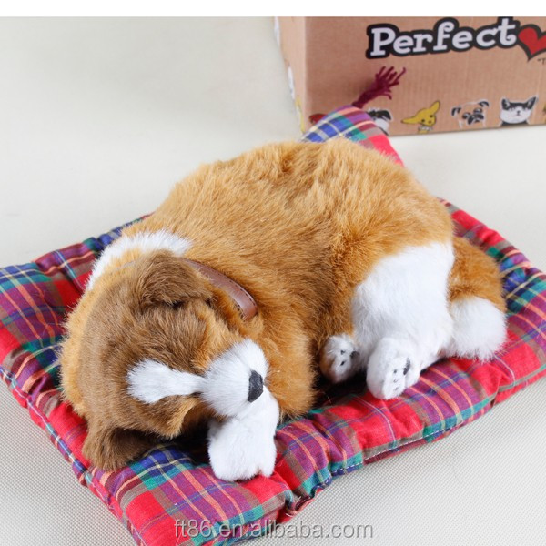Lovely breathing faux fur sleeping dog for ornament