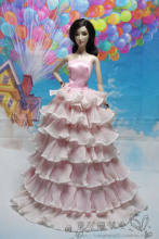 New arrival   1pcs Fashion  Lace  pink handmake Princess  Dress Weddig Gown Clothes Party Outfits For Barbie doll