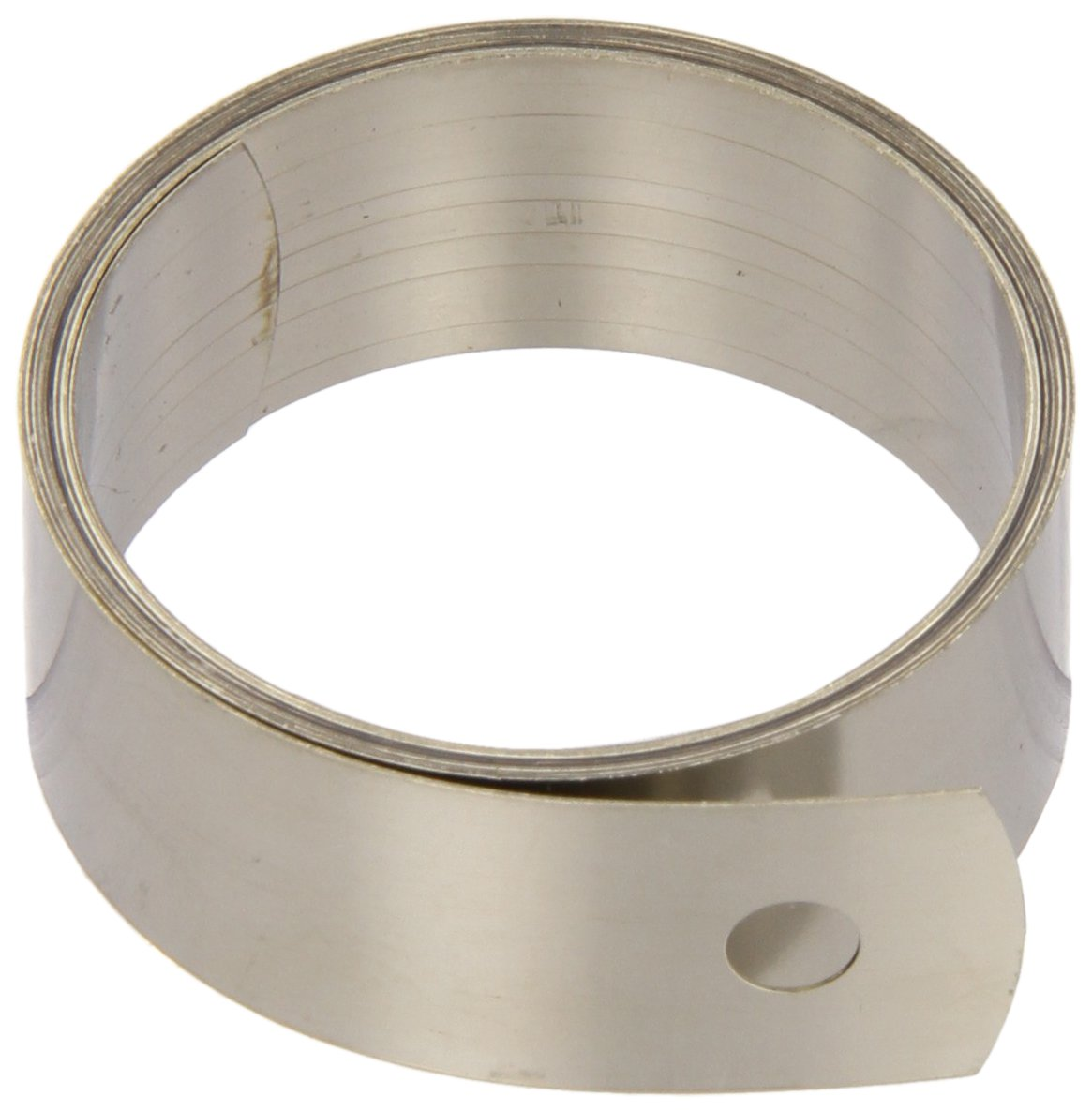 """Constant Force Spring, 301 Stainless Steel, Inch, 25000 Cycle Life, 35"""" Extended Length, 0.63"""" Width, 1.36"""" ID, 1.52"""" OD, 0.2"""" End Hole Diameter, 1.46lbs/in Load Capacity (Pack of 5)"""