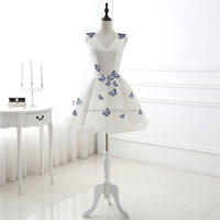 New Short Elegant V Neck Embroidered Butterfly Homecoming Bridesmaid Wear Clothes Wedding Dress Evening Dress Guangzhou