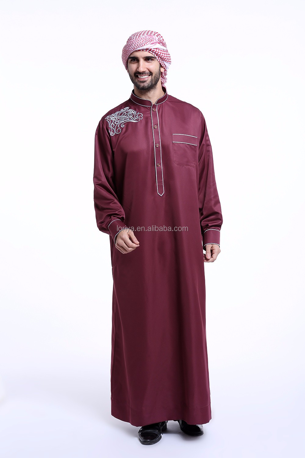 Fashionable best-selling muslim men thobe dubai abaya for islamic online sale men wear kaftan jubah men robe jubah abaya
