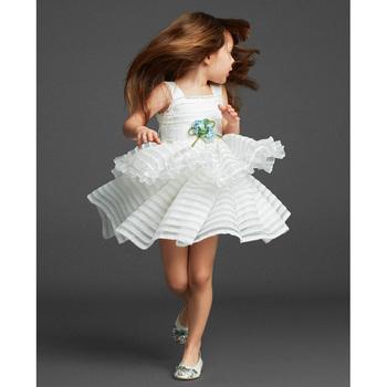2018 Spring Summer Party Baby Girl Tulle Frock Sleeveless White