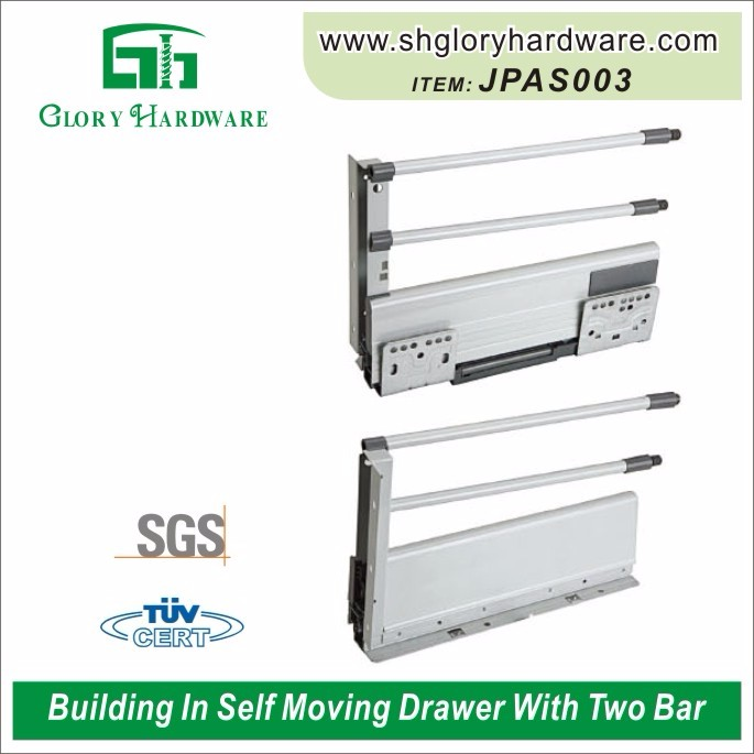 500mm self closing Metal Drawer Slide with bars, 86mm