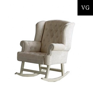 Simple Style Wooden Rocking Chair White Grey Linen Upholstered Glider Chair
