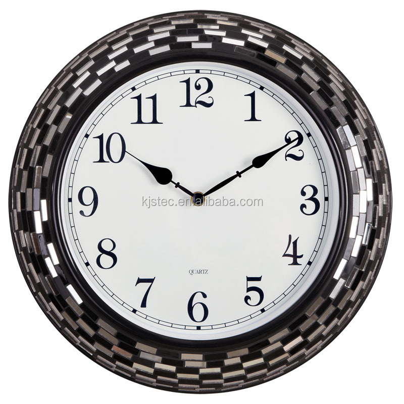 round non-ticking handicraft mirror mosaic quartz wall clock