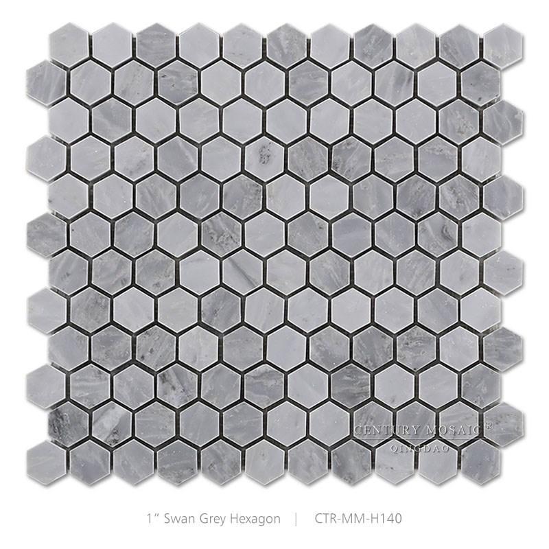 Première Classe Siècle Pas Cher Cygne Gris Mosaïque Hexagone - Carrelage hexagonal gris