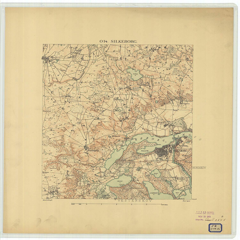 Vintography 24 x 36 Giclee Print Nautical Map Image Silkeborg 1876 NOAA 66a