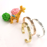 High Quality 316l Stainless Steel Bracelet Inspired Message Bangle Bracelet , Friendship Quote Bracelets