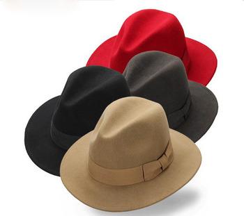 Unisex de fieltro de lana 100% de ala ancha sombrero de fedora venta al por e97fc0919f3