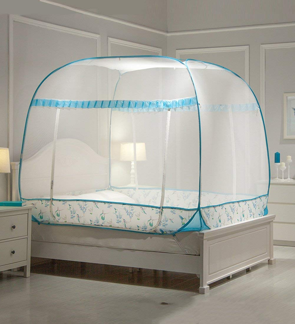 LIQICAI Mosquito Net Easy Setup Convenient 3-door Strong Elastic Steel Wire Insect Protection, 4 Color 6 Size Optional (Color : 2#Blue, Size : 1.80X2.00X1.50M)