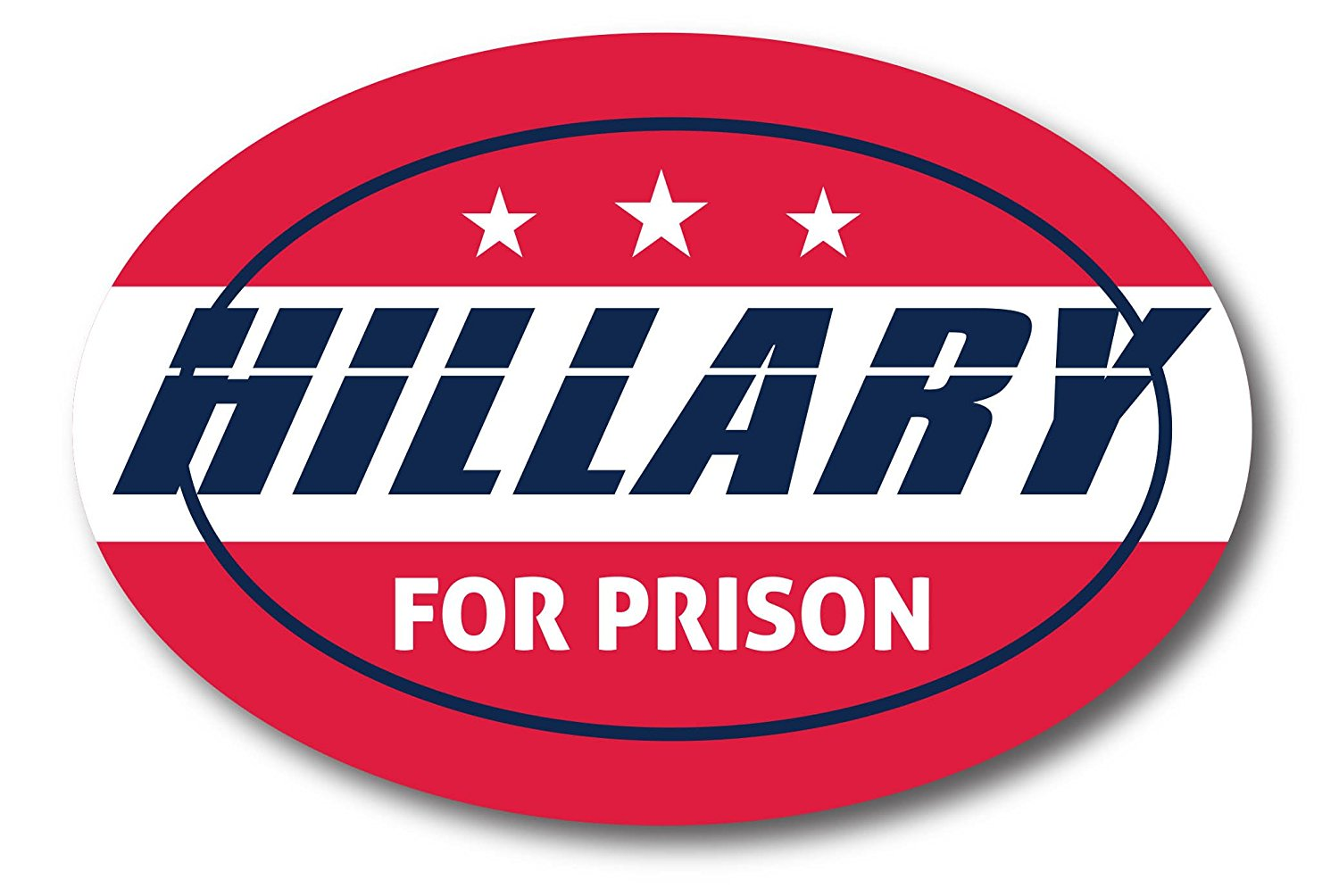 Hillary For Prison 2016 Oval Magnet - Cars Trucks SUVs