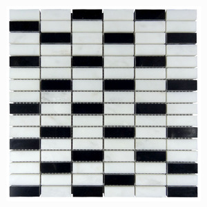 black and white mixed color marble mosaic art long square pattern