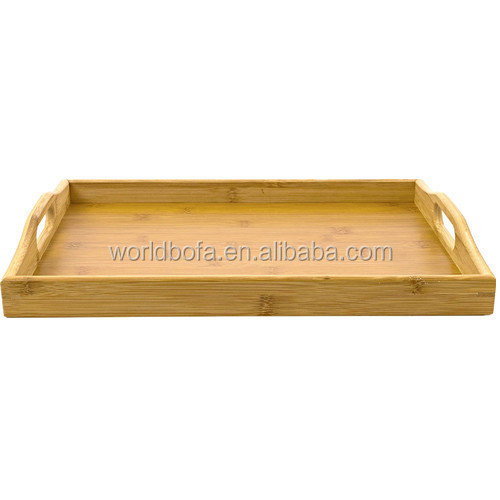Bamboo Breakfast Bed Trays Wooden Serving Platter With Handles