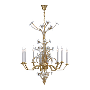 American style 8 arms brass candle beautiful crystal chandelier lighted flowers