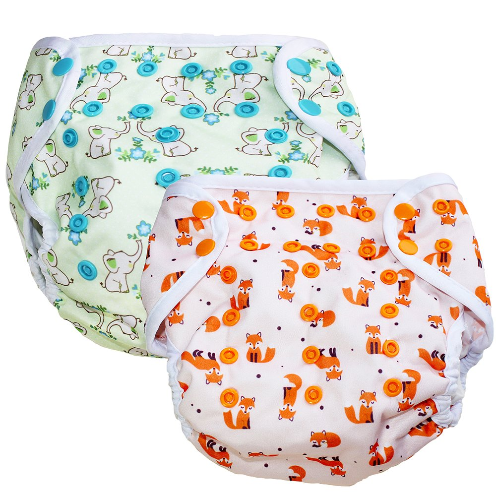 Swim Diapers 2 Pack - Reusable Washable & Adjustable for Swimming lesson & Baby Shower for 0-3 Years Old Boys and Girls One Size Fits All