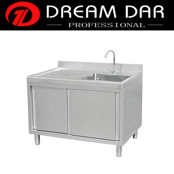 Commercial Stainless Steel Slinding Door Of Single Sink With Cabinet For  Kitchen - Buy Sink,Kitchen Sink,Commercial Kitchen Sink Product on ...