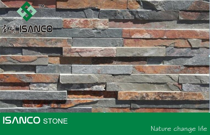 Cheap Interior Exterior Use Cultured Stone Panel Slate Stacked Stone