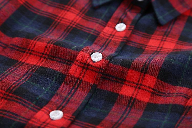 Xin ליאן כותנה חולצת משבצות נקבה סתיו 2014 חדש הגירסה הקוריאנית של סלים גודל גדול של נשים מזדמנים חולצה עם שרוולים ארוכים