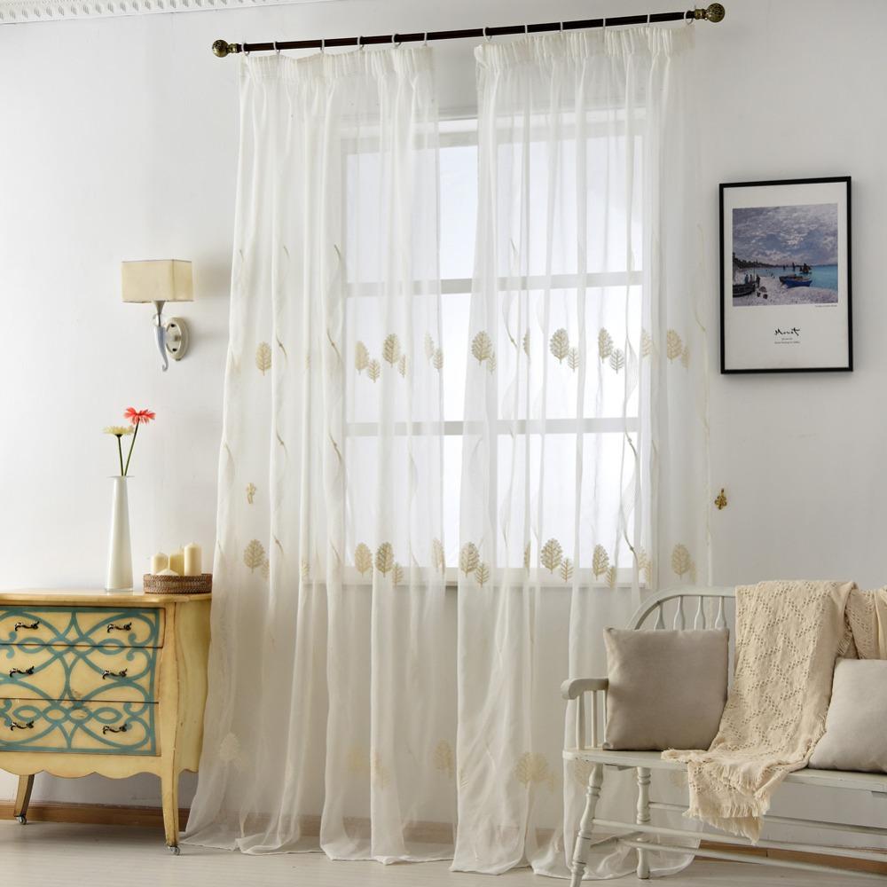 Napearl Linho Bordado Cortinas De Tule Branco Sheer Tecidos Deixar