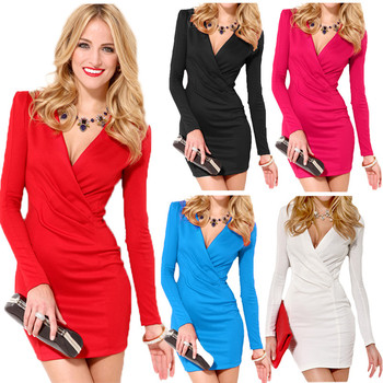 cccedc9c99b Sexy Women Bodycon Dress Deep V-Neck Long Sleeve One-piece Mini Dress Red