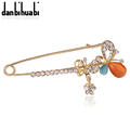 Cheap Gold Safety Pin Brooch Jewelry Fashion Opal Crystal Rhinestone Brooch Pearl For Women Scarves Corsage