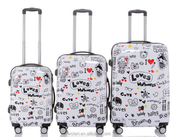 Cute Loves Hard S Pc Abs Travel Trolley Luggage Set With Cosmetic Bag Printing Love