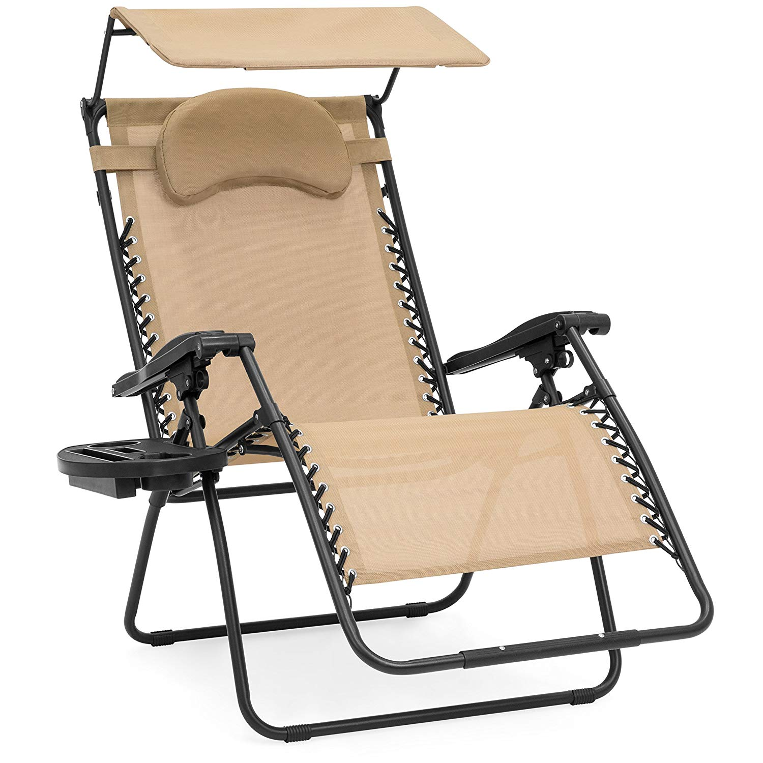 Best Choice Products Oversized Zero Gravity Reclining Lounge Patio Chairs w/Folding Canopy Shade and Cup Holder (Tan)