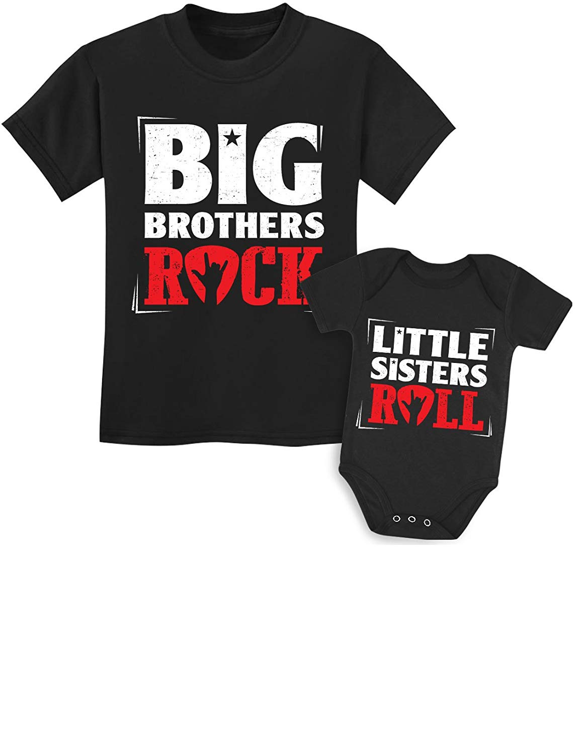 Tstars Rock N Roll Siblings Shirts For Big Brother/Sister Little Brother/Sister Set