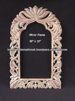 Carved Wooden Mirror Frame Hand Wood Antique Decoration