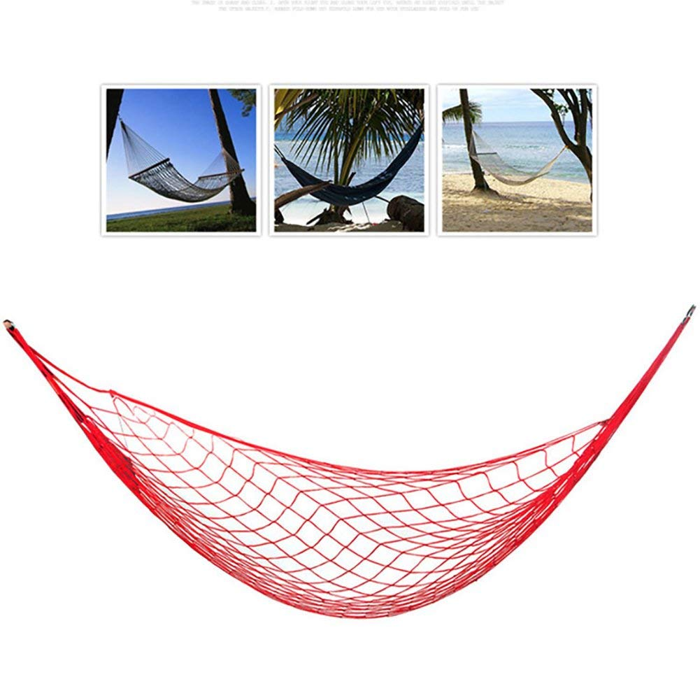 Portable Camping Hammock Nylon Mesh Rope Hanging Bed Outdoor Garden Hanging Mesh Net Sleeping Bed Chair Swing for Hiking Camping Travel Sports Beach Yard Relaxing (Red)