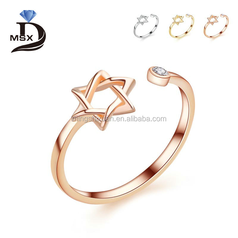Guangzhou MSX Jewelry stainless steel high polishing jewelry rose gold David stars women rings