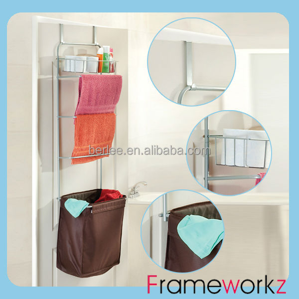 Over Door Bathroom Rack with h&er and towel bar / bathroom shelf & Over Door Bathroom Rack With Hamper And Towel Bar / Bathroom Shelf ... pezcame.com