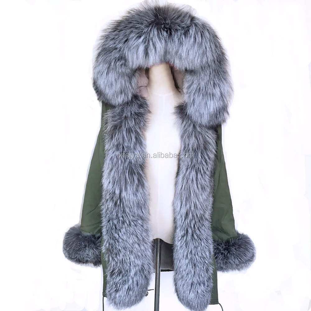2017 Wholesale Custom Real Rex Rabbit Fur Lined Parka/Women Autumn Winter Coat Luxurious Fox Fur Hood Real Fur Parka