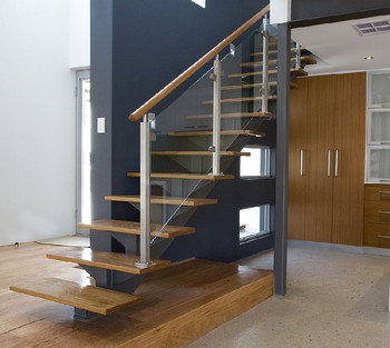 Perfect Interior Glass Staircase Railing Kits With Timber Wood Handrail