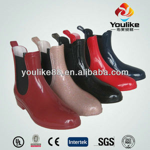 YL3119 ladies jodhpur pvc transparent ankle rain boots