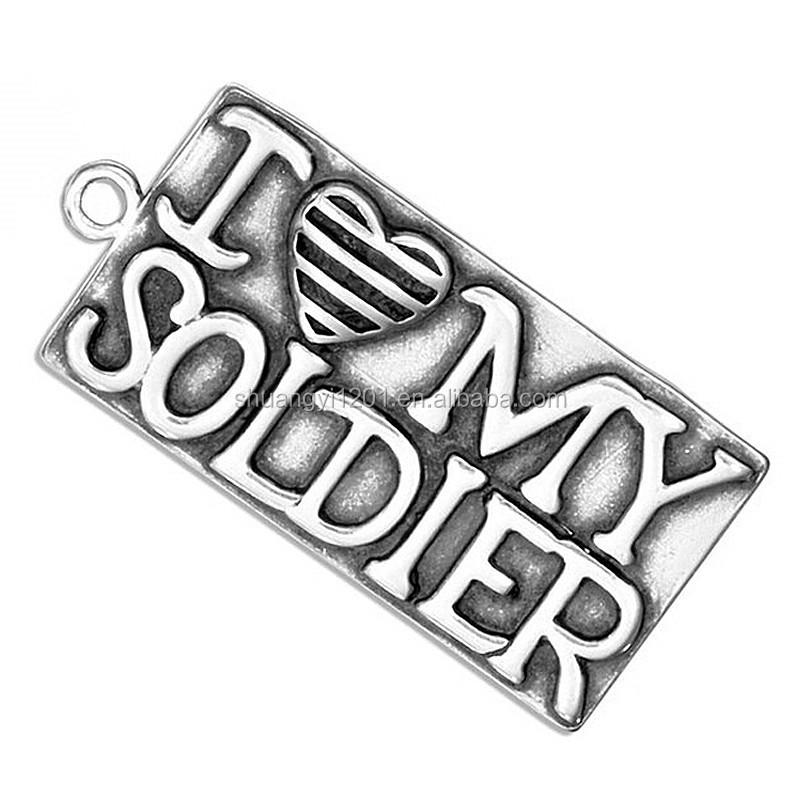 Metal Alloy Antique Silver Tone Message I Love My Soldier Pendant