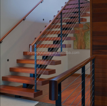 Low Cost Steel Wood Staircase Design I Shape Staircase Price