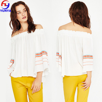 e4bc5c9a06600c 2018 trending products boho fashion rayon off shoulder embroidered women  blouse tops