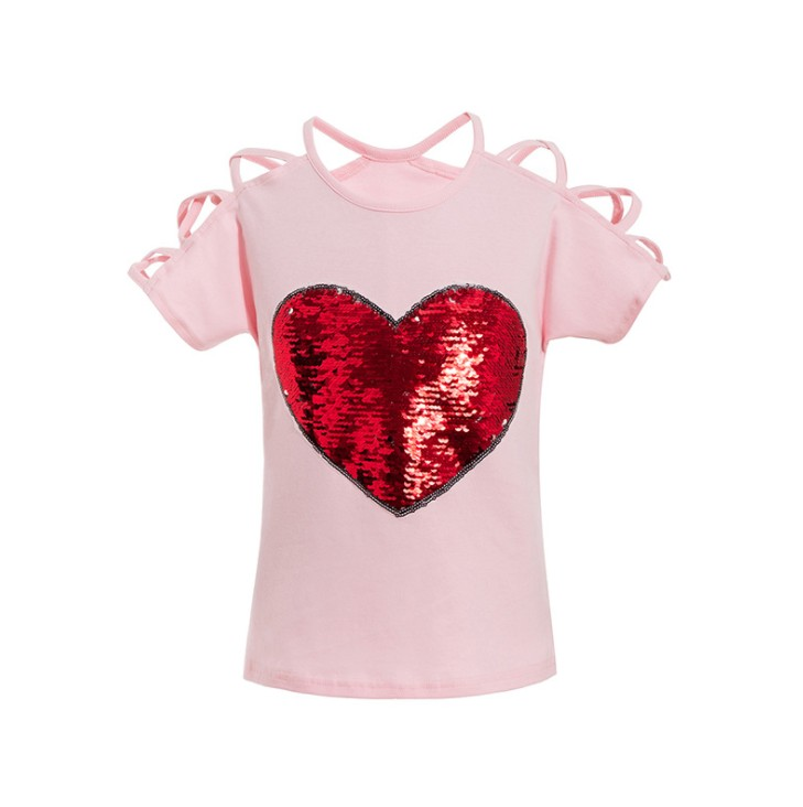 Always beautiful Boys and Girls Summer Sequins Short-Sleeved Round Neck Casual Cotton T-Shirt top 3-8 Years Old wear