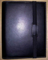 real genuine black cowhide leather file organizer notebook cover