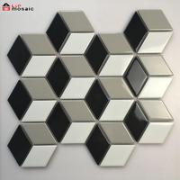 Cube 3D diamond ceramic mosaic tile for floor and wall