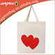 Wholesale reusable heart canvas tote shopping bag for wedding gift