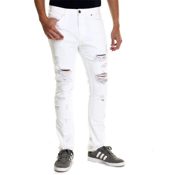 2015 Light Wash Denim Jeans Light Tears Front White Ripped Jeans ...