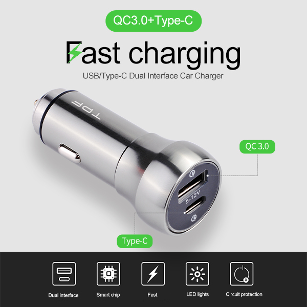 2018 New hot Selling world popular Gift Auto universal car charger Quick Charge 12V