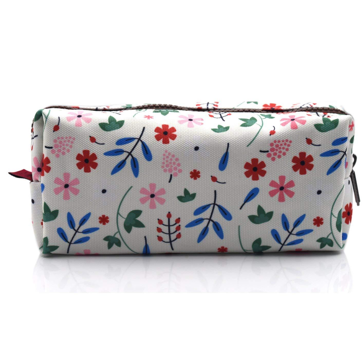 LParkin Floral Students Super Large Capacity Canvas Pencil Case Pen Bag Pouch Stationary Case Makeup Cosmetic Bag (White)